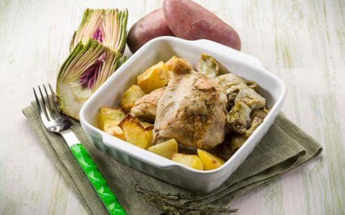 pollo-al-horno-con-espinacas-y-alcachofas