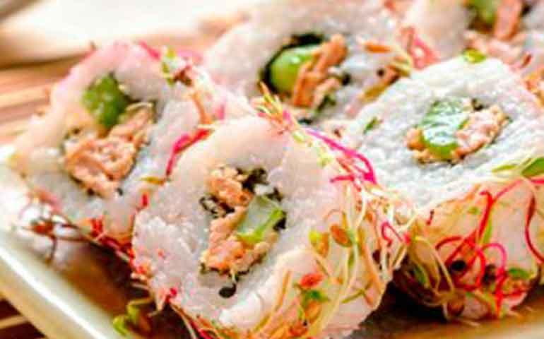 Sushi-de-atún,-apio,-jicama-y-chiles-toreados-